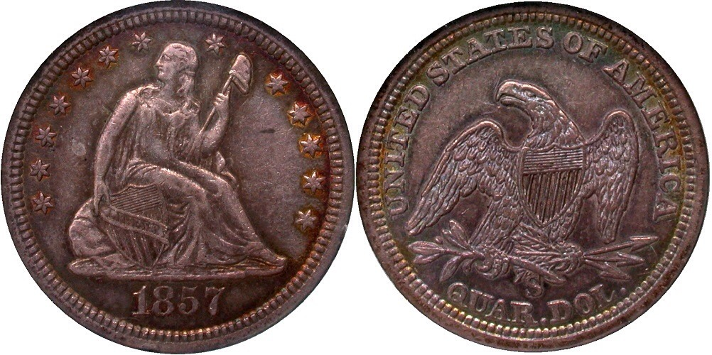 GFRC Open Set Registry - Golden Arm 1857 Seated  25C